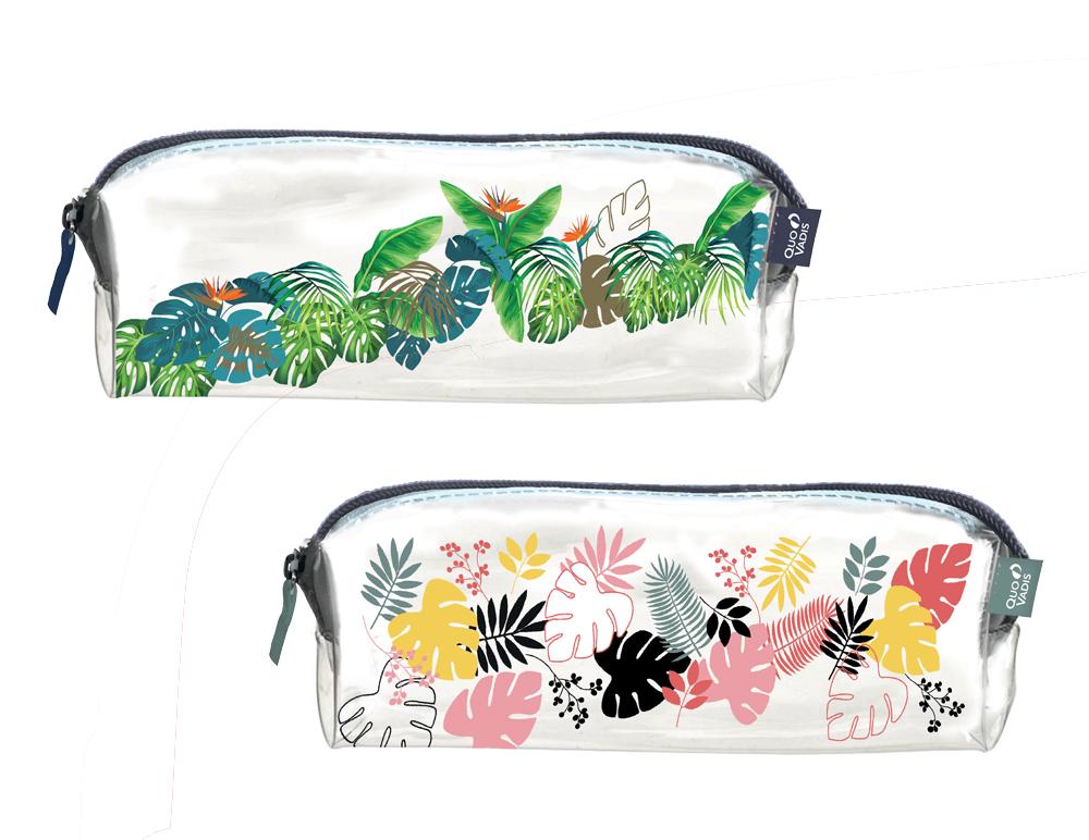 Trousse mini transparente Quo Vadis motif jungle